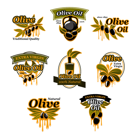 Olive oil icons of green and black olives for extra virgin product bottle packing label design template. Best quality organic cooking oil drops on jar and olive leaf. Vector isolated set.