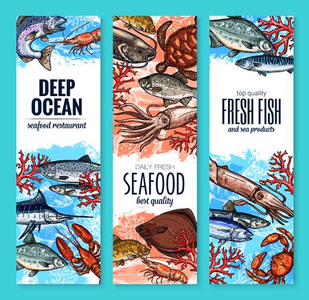 Zeevruchten en vis product banners zeevruchten markt of restaurant. Vector schets verse visser vangst.