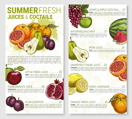 Fruit juices and cocktail price for restaurant of cafe menu. Vector sketch lemonade and compote drinks of apple, peach or pear, pomegranate or kiwi, tropical lemon and watermelon.  イラスト・ベクター素材