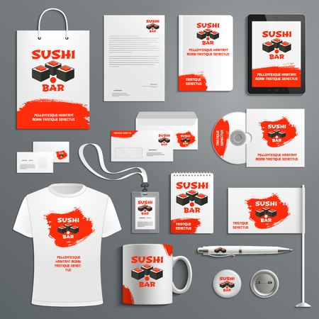 Sushi Japanese restaurant corporate identity templates of supplies for company branding. Vector isolated set of t-shirt apparel, business card, stationery and promo flag, mug and blank or paper bag. Иллюстрация