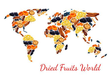 Dried fruits poster world map combined of sweet dry fruit snacks. Vector dried raisins, prunes or apricot and dates or figs, pineapple or cherry and sweet desserts for fruit shop or market design.