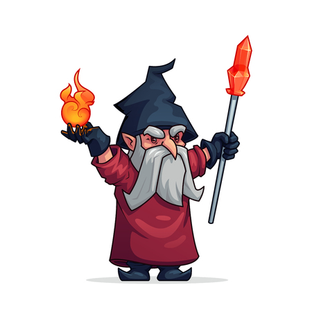 Wizard witch or evil wicked magician cartoon character. Vicious grumpy or angry old man dwarf or bad gnome in hat with magic fire and crystal crook wand. Vector isolated flat icon for computer game.
