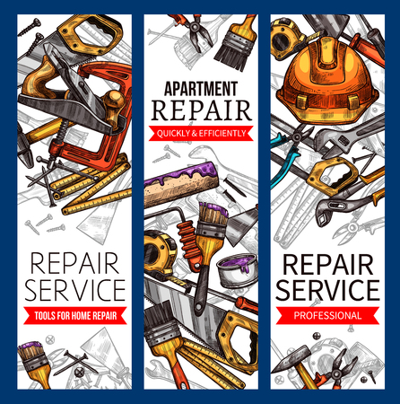 Repair service banners of work tools for house construction or apartment renovation. Handyman safety helmet, carpentry hammer or saw and woodwork grinder, screwdriver and paint brush. Vector sketch. Ilustração