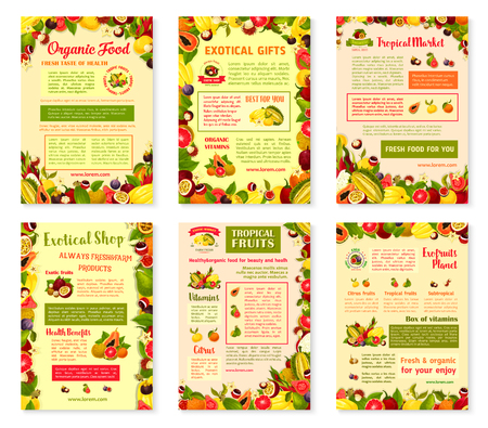 Exotic fruits posters or brochure template of tropic fruit harvest. Vector design of tropical papaya, passion fruit maracuya or figs and durian, farm juicy lychee or organic pitahaya and carambola.