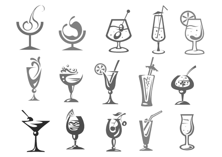 Cocktails glasses vector alcohol drinks bar icons Stock Illustratie