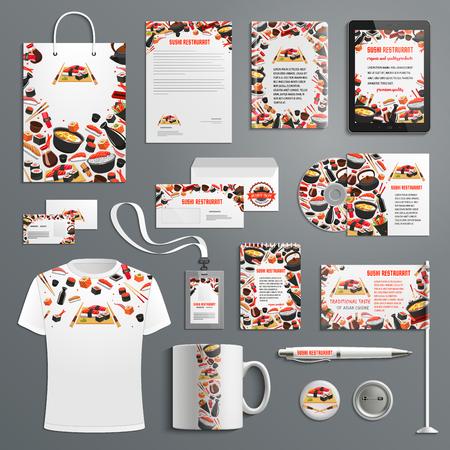 A Japanese cuisine or Asian sushi restaurant advertising promo item branding templates. Иллюстрация