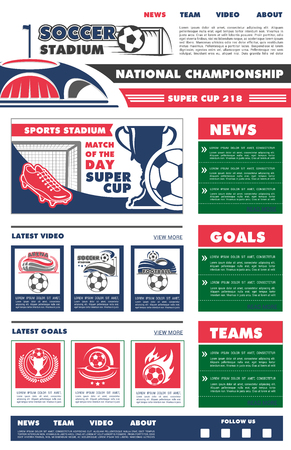 Vector web site template for soccer championship