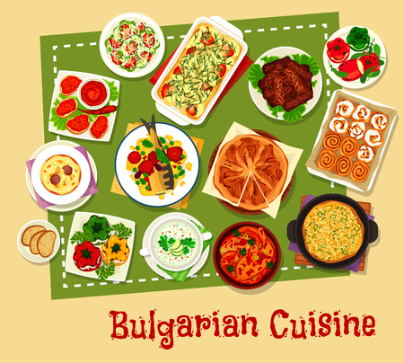 Bulgarian cuisine restaurant menu icon design
