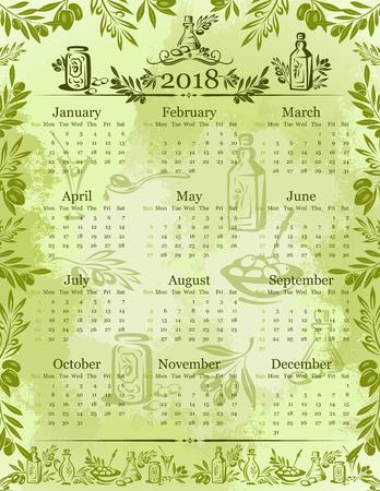 Modèle de calendrier 2018 de vecteur olives huile d'olive. Banque d'images - 92762029