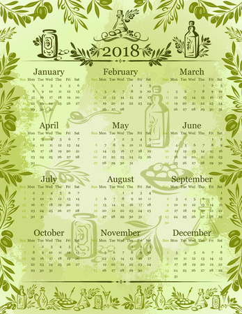 Vector olives olive oil calendar 2018 template.