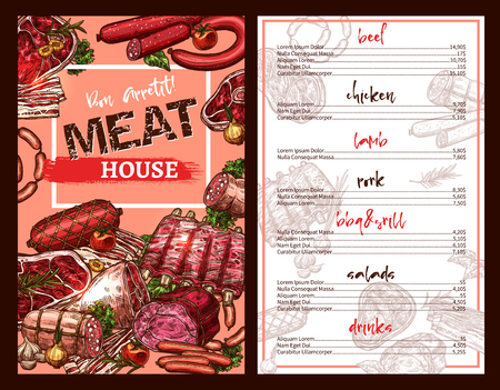 Meat house restaurant menu template with prices for delicatessen dishes and sausage food. Vector sketch design of pork ham or bacon, grill chicken and barbecue beef steak or lamb brisket salad. Ilustração