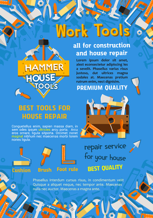House construction or home repair work tools poster of woodwork grinder, carpentry and house renovation hammer, drill and saw. Vector handyman toolbox of plaster trowel and paint brush in toolbox. Illustration