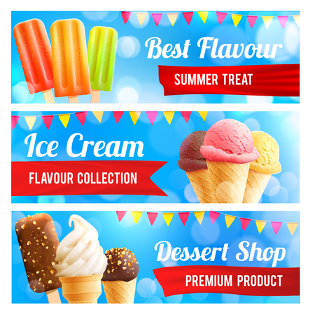 Ice cream 3d summer dessert banner set. Chocolate covered and vanilla ice cream cone, fruit on stick with ribbon banner and flag for ice cream shop flyer, cafe menu design.