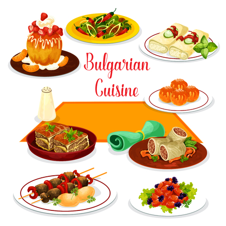 Bulgarian cuisine icon of lunch with dessert. Tomato pepper stew, grilled beef kebab, meat stew with bean, vegetable casserole, baked cheese, cabbage roll with rice and meat, rum cake and donut. Stock Vector - 92761418