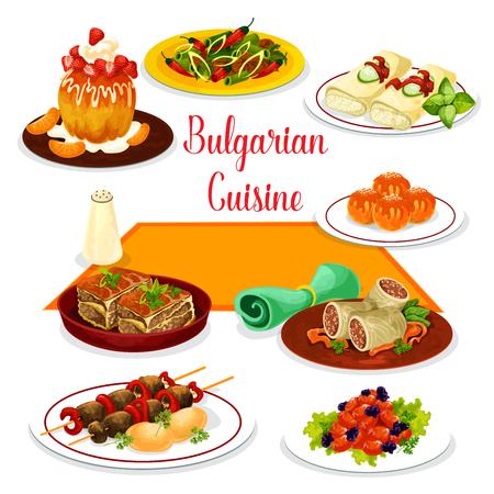Bulgarische Kücheikone des Mittagessens mit Nachtisch. Tomatenpfeffereintopf, gegrillter Rindfleischspieß, Fleischeintopf mit Bohnen, Gemüseauflauf, gebackener Käse, Kohlroulade mit Reis und Fleisch, Rumkuchen und Donut. Standard-Bild - 92761418