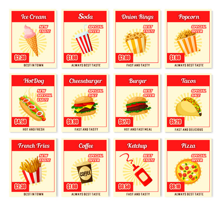 Fast food restaurant menu price cards templates for ice cream, soda or coffee drink, burger and hot dog or pizza and dessert. Vector sandwich, fries or taco and hamburger or donut and onion rings