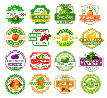 Fruits icons and labels for fruit juice or farmer market products. Vector badges set for organic kiwi, pear or grape and peach, natural apple or garnet and fresh lemon or melon, plum or watermelon Illustration