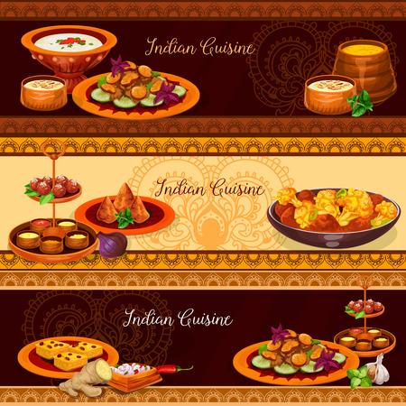 Cucina indiana cucina tradizionale per pranzo banner set. Pollo al curry con verdure, samosa di tortino di patate, budino di riso con noci, salsa di pomodoro allo yogurt, torta di semola, spezzatino di funghi, pasta fritta al latte Archivio Fotografico - 92758078