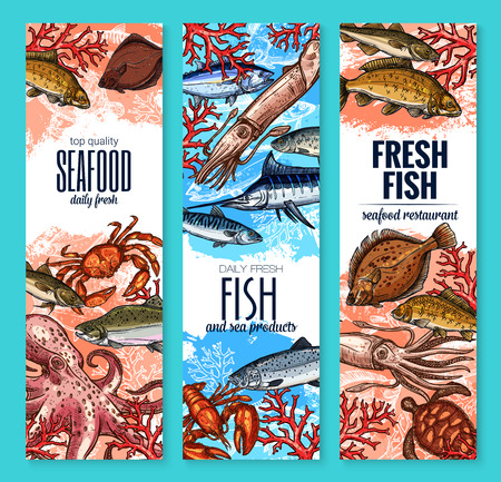 Zeevruchten en verse visproducten banners van marlijn, octopus of inktvis en brasem, ansjovis of forel en visser vangst bot of garnalen en kreeft krab. Vector schetsontwerp voor zeevruchten markt Stock Illustratie