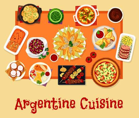 아르헨티나 요리 점심 아이콘, 음식 디자인 일러스트