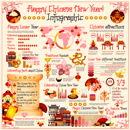 Chinese New Year holiday infographics for celebration in country, traditional decorations and statistics for food menu or interesting attractions. Vector diagrams of Chinese ornaments and symbols Illustration