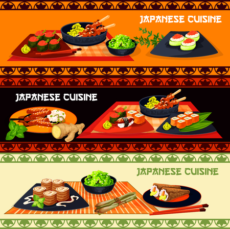 Japanese cuisine restaurant dinner menu banner with seafood and meat dishes. Sushi platter with salmon fish, shrimp and caviar, teriyaki pork, grilled chicken yakitori and sweet cheese rolls.