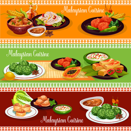 Malaysian cuisine restaurant banner of exotic Asian dishes. Rice nasi lemak, served with vegetable and chili sauce, chicken stew and meat pie, fried prawn pancake, rice coconut dessert and bean salad