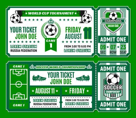 サッカートーナメント招待状のサッカーチケットテンプレート。サッカーボール、勝者トロフィーカップとスタジアムフィールド、チャンピオンロ