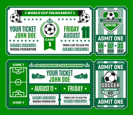 Soccer ticket template of football tournament invitation. Football sport game match card with soccer ball, winner trophy cup and stadium field, champion laurel wreath, crown and star.