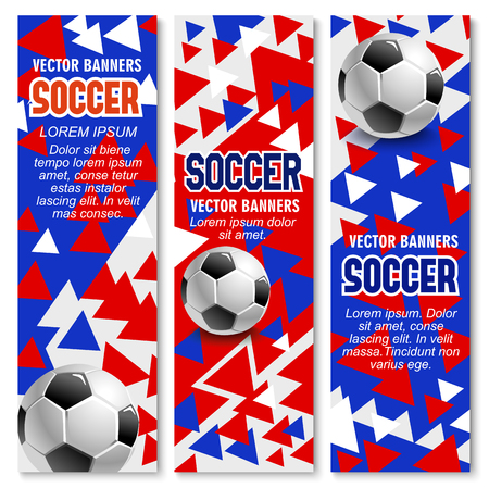 Soccer ball 3d poster with sporting equipment for football championship tournament flyer and sport club brochure design.