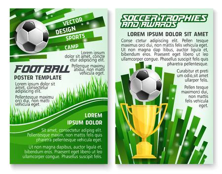 Balón de fútbol y trofeo banner para plantilla de juego de deporte de fútbol. Copa de oro ganador con balón en el campo de hierba verde del estadio de fútbol para el diseño de carteles de información de premio de club deportivo de fútbol.