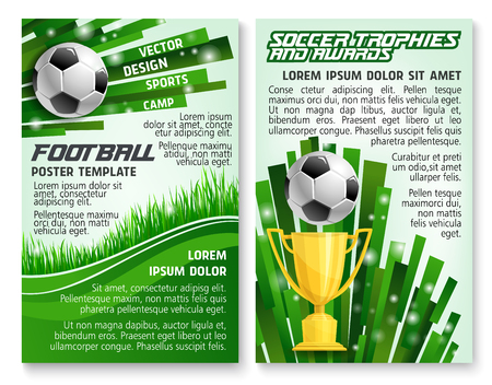 Soccer ball and trophy banner for football sport game template. Golden winner cup with ball on green grass field of soccer stadium for football sport club award information poster design.