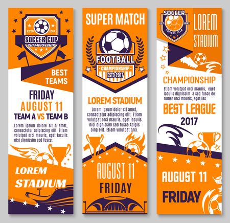 Soccer championship match banner of football sport game. Soccer ball with winner trophy cup, football stadium and champion flag flyer, decorated with star, ribbon banner and flame for sporting design.