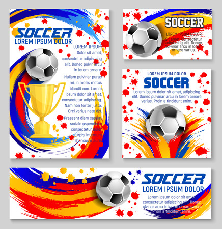 Soccer ball banner template for football sport game design. Golden winner cup or trophy with soccer ball, decorated by colorful paint splashes, brush strokes and spots for football championship design. Ilustração