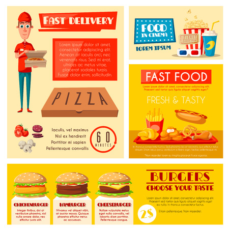 Fast food restaurant banner set with takeaway lunch and burger menu, pizza delivery and cinema cafe. Hamburger, hot dog and fries, soda, pizza, chicken nuggets and popcorn poster with delivery man. Illustration