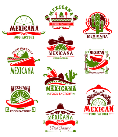 Mexican restaurant sign with pepper and sombrero. Spicy chili salsa and tomato sauce, taco, tequila and lime icon, decorated with cactus and maracas for Mexican cuisine menu design.