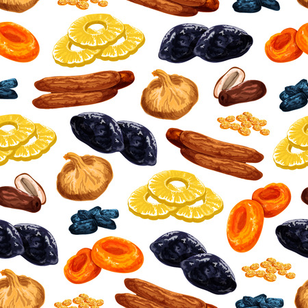 Dried fruits seamless pattern of sweet dry fruit snacks. Vector tile of dried raisins, prunes or apricot and dates or sweet figs, pineapple or cherry and desserts for fruit shop or market design. Ilustração