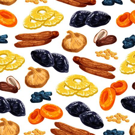 Gedroogd fruit naadloos patroon van zoete droge fruitsnacks. Vector tegel van gedroogde rozijnen, gedroogde pruimen of abrikozen en dadels of zoete vijgen, ananas of kersen en desserts voor fruitwinkel of marktontwerp. Stockfoto - 93018356
