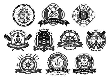 해양 seafarer 또는 선원 벡터 아이콘입니다. 전령 배지 선박 조 타 장치 및 앵커, 선장 항해사 나침반 및 항해 등대 또는 리본 및 삼지창 체인이 달린 생