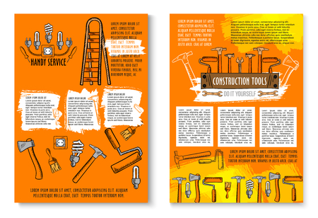 Handy service posters of work tools for house repair, carpentry and electricity. Vector sketch electrician ladder, plug socket and lamps, construction drill, saw or hammer and woodwork grinder