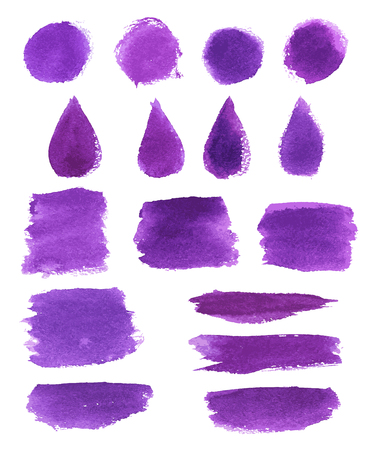 Watercolor brush stroke set. Violet paint brushstroke, round stain and drop shaped splatter with grunge texture for art themes design