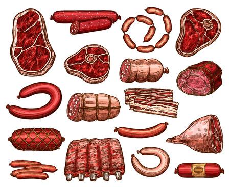 新鮮な肉とソーセージ製品のスケッチ。ビーフステーキ、ポークサーロインとサラミ、ハム、ベーコン、ラムリブ、バーベキューソーセージ、ペパ
