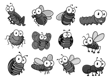 昆虫漫画キャラクターセット。蝶、バグ、蜂、毛虫、フライとレディバグ、クモ、蚊、スズメバチとアリ、バンブルビー、トンボ、バッタやスズメ  イラスト・ベクター素材