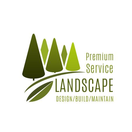 Green landscape design service vector trees icon