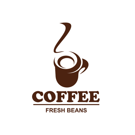 Coffee cup with hot steam icon for fresh bean product packaging or cafeteria and cafe menu design template. Vector isolated hot steamy mug of americano or cappuccino for shop or coffeehouse.
