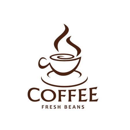 新鮮な豆の包装ラベルやコーヒーショップのデザインテンプレートのためのコーヒーカップと蒸気アウトライン茶色のアイコン。コーヒーハウス用