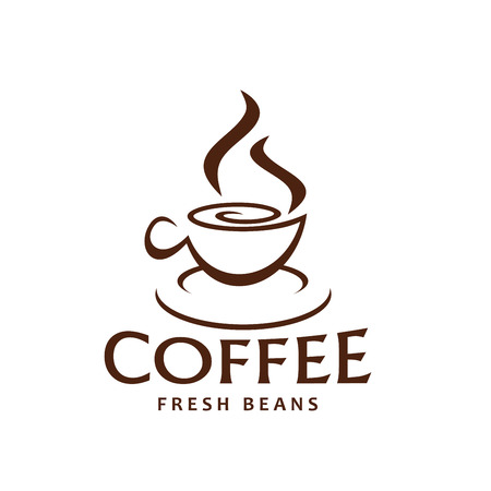Coffee cup and steam outline brown icon for fresh beans packaging label or coffeeshop design template. Vector hot steamy mug of espresso or americano and cappuccino coffee drink for coffeehouse. Çizim