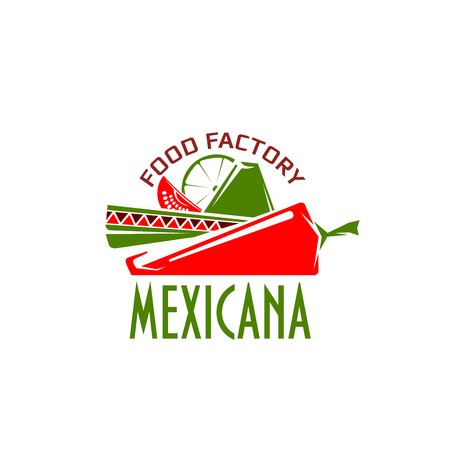 Mexican cuisine icon Mexicana for Mexico restaurant or traditional food cafe and menu design template. Vector isolated symbol of sombrero hat and red chili or jalapeno pepper, line and guava.