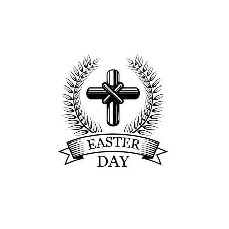 Easter Day crucifix vector religious holiday icon