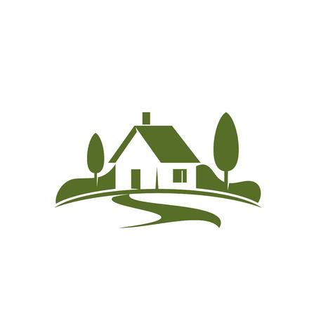 Casa de campo ou ícone home verde para a agência imobiliária ou o conceito home da ecologia. Símbolo isolado de vetor de casa de fazenda na floresta verde ou parque de bosques para empresa de paisagismo